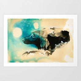 The Swim Fan | Flat Coated Retriever Art Print