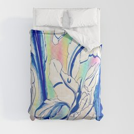 Plant in Blue Marker - Leaf of Life Miracle Leaf - Rainbow Colorful 2 Comforters