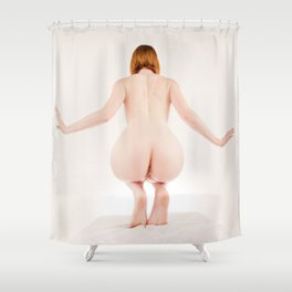 8614s-MM Perched on Her Toes Red Hair Model Megan Nude from Behind Shower Curtain