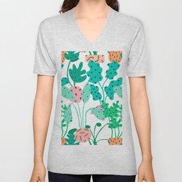 Postmodern Planters in White Unisex V-Neck