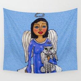 Peaceful Folk Art Angel White Cat Angel Sky on Cloud Blue Wall Tapestry
