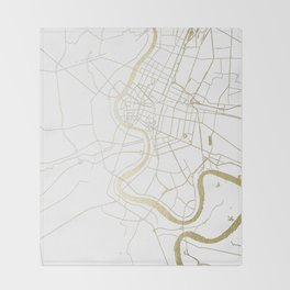 Bangkok Thailand Minimal Street Map - Gold Metallic and White II Throw Blanket