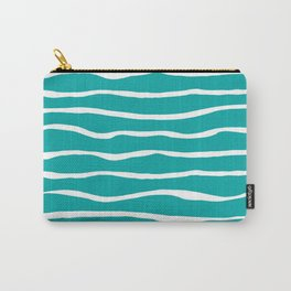 Ocean Ripple Organic Stripes in White and Turquoise  Carry-All Pouch