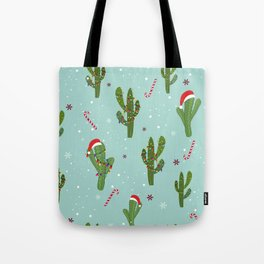 Cactus With Colorful Light Bulb. Merry Christmas and Happy New Year Seamless Pattern Tote Bag