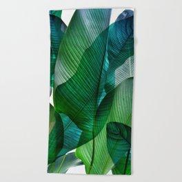 Palm leaf jungle Bali banana palm frond greens Beach Towel
