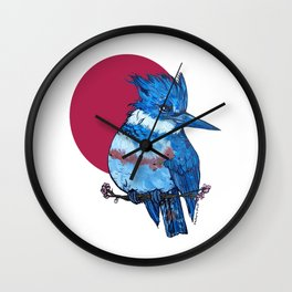 L'il Lard Butts Rising Sun Belted Kingfisher Wall Clock