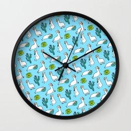 Cute Llama Alpaca Cactus Pattern Gift Wall Clock