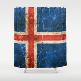 Vintage Aged and Scratched Icelandic Flag Shower Curtain