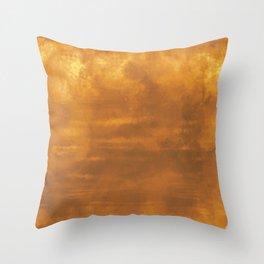 Burst of Color Golden Abstract Sponge Art Blend Texture Throw Pillow