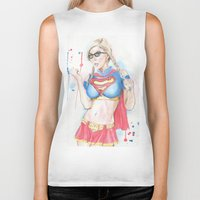 supergirl Biker Tanks featuring Supergirl by James Murlin