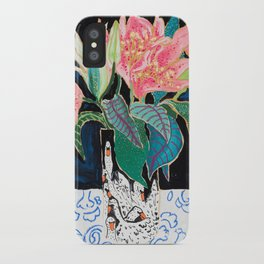 Swan Vase with Pink Lily Flower Bouquet on Dark Blue and Black Winter Floral iPhone Case