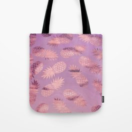 Pretty Pink & Rose Gold Pineapple Pattern Tote Bag