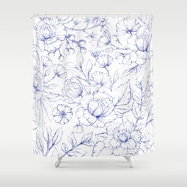 Modern hand drawn navy blue white elegant floral pattern Shower Curtain