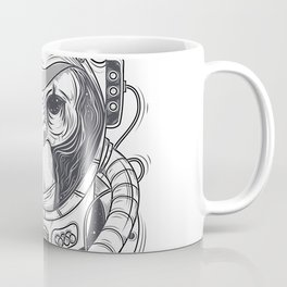 Vector hand drawn illustration of a monkey astronaut, chimpanzee in a space suit Coffee Mug