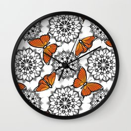 Butterflies and mandalas 1 Wall Clock