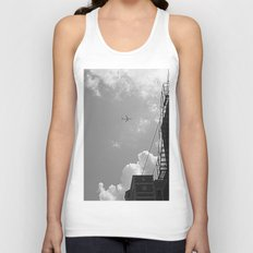 Leaving On A Jet Plane ~ black and white Unisex Tank Top