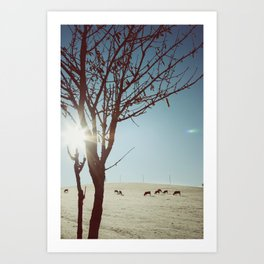 Tree and Cows Art Print