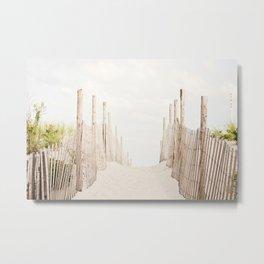 Beach Photography, Coastal Dunes Art, Neutral Seashore Photo, Beach Fence, Seaside Coast Picture Metal Print