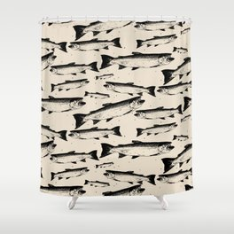 School of Fish Stamp Repeat Pattern Shower Curtain