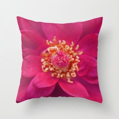 Red Petal Mandala Throw Pillow