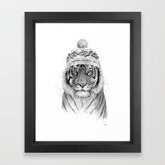 Siberian tiger (b&w) Framed Art Print