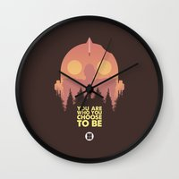 iron giant Wall Clocks featuring I love you Giant by VineDesign