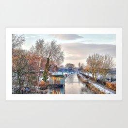 Winter Canal Scene Art Print