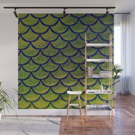 Chartreuse Cobalt Scales Wall Mural