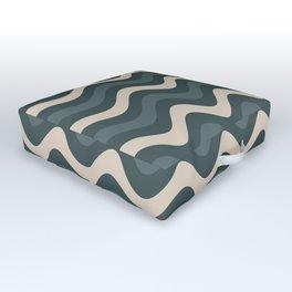 Juniper Berry Green & Alpaca Wool Cream Wavy Horizontal Stripes on Night Watch Green Outdoor Floor Cushion