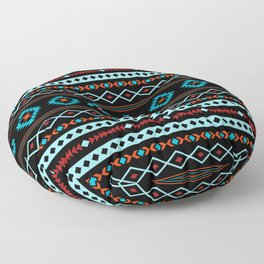 Aztec Blues Reds Black Mixed Motifs Pattern Floor Pillow