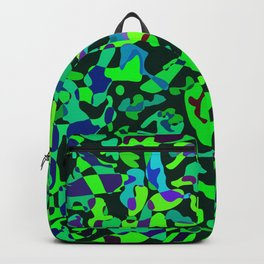Intersecting delicate on colored spots and splashes of blue paints. Backpack