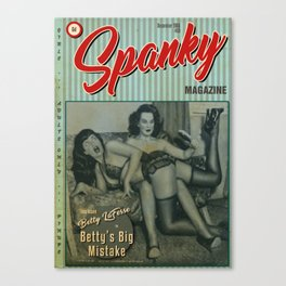 Poster of spoof retro magazine cover 'Spanky' Canvas Print