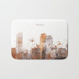 Brown Miami watercolor skyline design Bath Mat