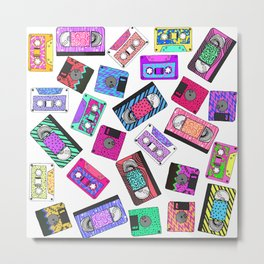 Retro 80's 90's Neon Patterned Cassette Tapes Metal Print