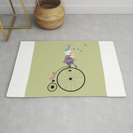 Cute piggy and bird on vintage cycle olive Rug