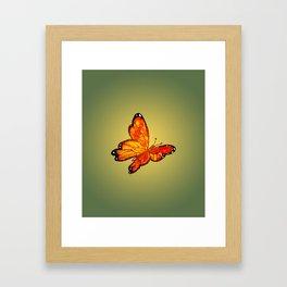 Orange Watercolor Butterfly Design Framed Art Print