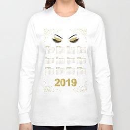 Lashes  with gold glitter 2019 calendar illustration Long Sleeve T-shirt