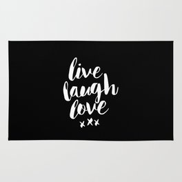 Live Laugh Love black and white monochrome typography poster design home wall decor canvas Rug