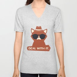 Cat Deal With It T Shirt Unisex V-Neck