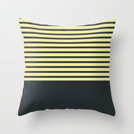 Navy stripes on yellow Throw Pillow