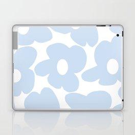 Large Baby Blue Retro Flowers White Background #decor #society6 #buyart Laptop & iPad Skin