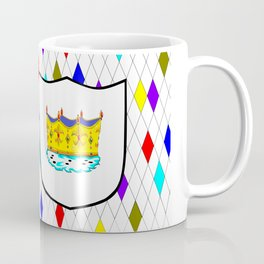 A Stained Glass Window with Shield and Crown Coffee Mug