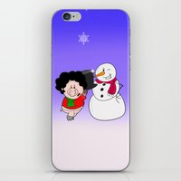 snowman iPhone & iPod Skins featuring Snowman by Afro Pig