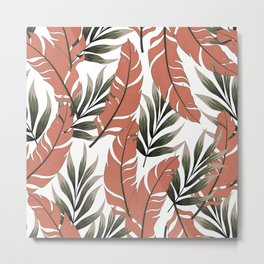 Botanical seamless tropical pattern with bright plants and leaves on a delicate background. Hawaiian style. Exotic tropics. Summer. Printing and textiles. Metal Print