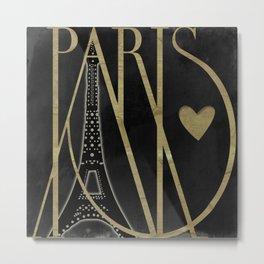 I Love Paris Black Metal Print