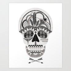 AZTEC SKULL B/W  Art Print