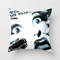 movie posters Throw Pillows featuring B-Movie  by Trixie & the Killer Productions