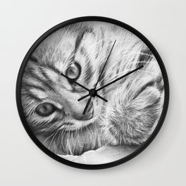 Cat Kitten Dawing Wall Clock