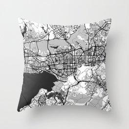 Shenzhen Map Gray Throw Pillow