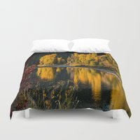 beaver Duvet Covers featuring Sunrise Aspens Beaver Creek by John Minar Fine Art Photography